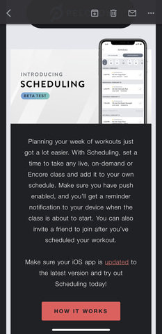 Peloton shared an update about a new feature within one page on a mobile device.