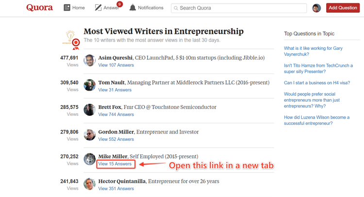 screenshot of most viewed writers on Quora