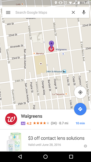 Google Maps promoted pin