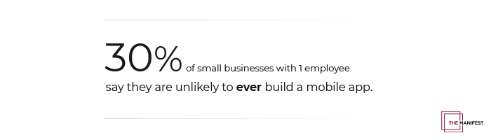 30% of small businesses with 1 employee say they are unlikely to ever have a mobile app