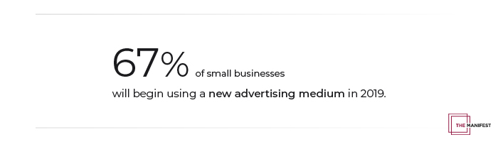 67% of small businesses will begin using a new medium in 2019