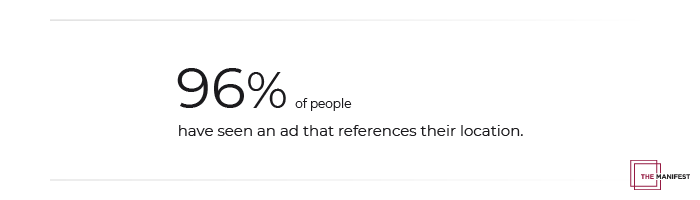 96% of people have seen an ad that references their location.