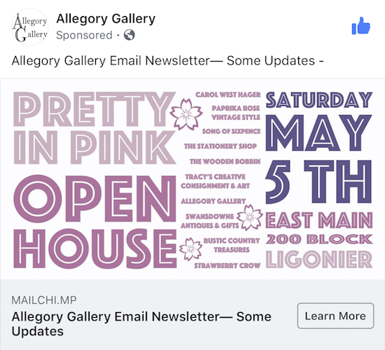 Allegory Gallery Facebook advertisement