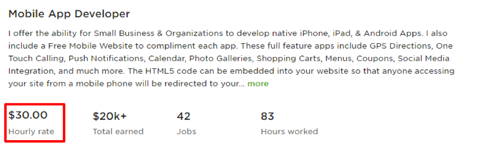 App developer price