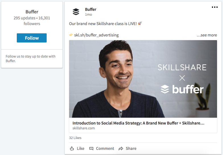 Buffer promotes a class on Twitter
