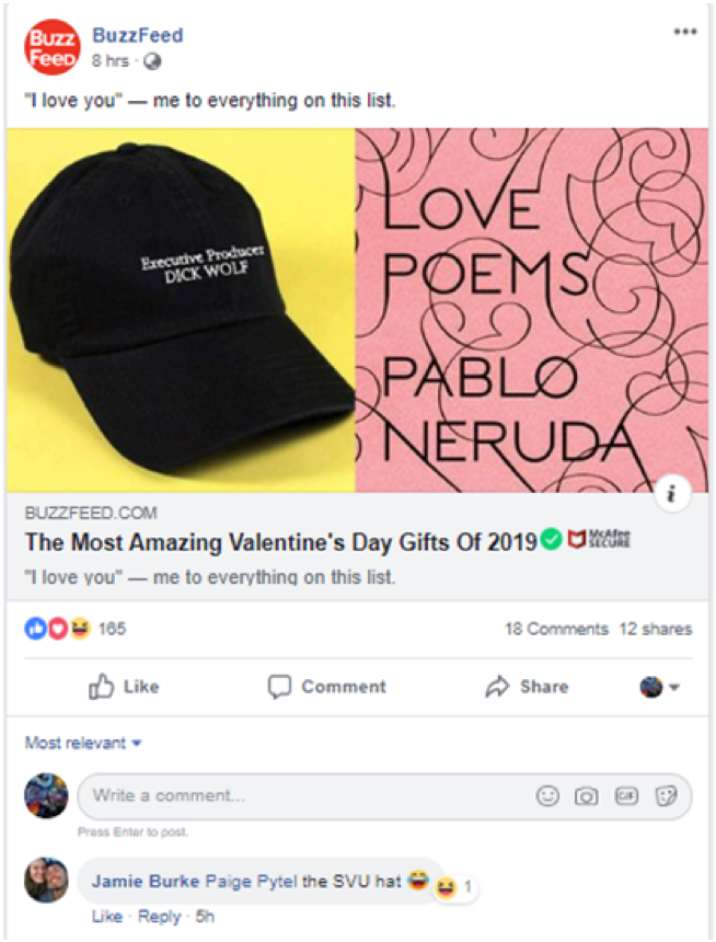 BuzzFeed Facebook post