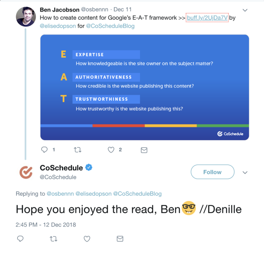 CoSchedule's social media engagement