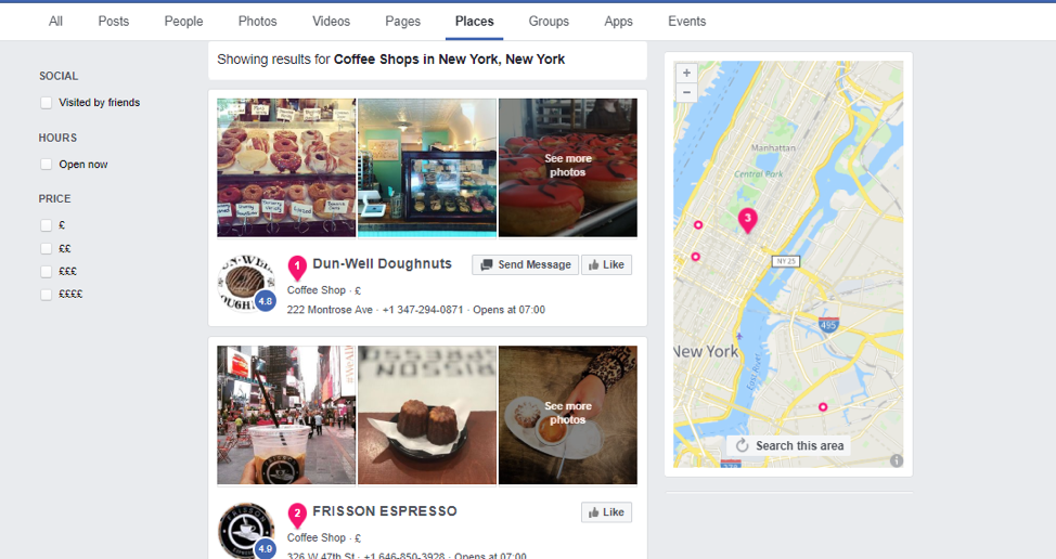 """Coffee shops New York"" Facebook search"