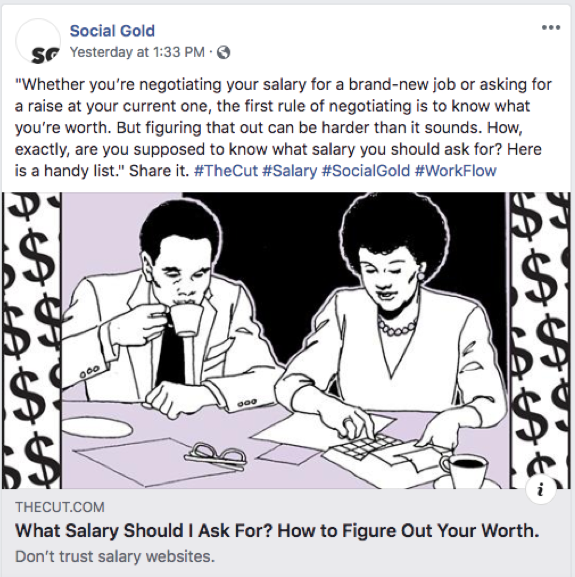 Social Gold Group Facebook Post