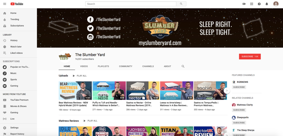 The Slumber Yard YouTube Channel