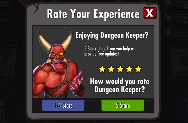 Screenshot of Dungeon Keeper review request