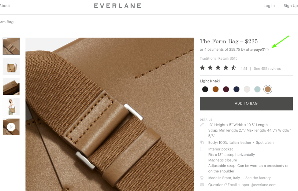 Everlane customer financing