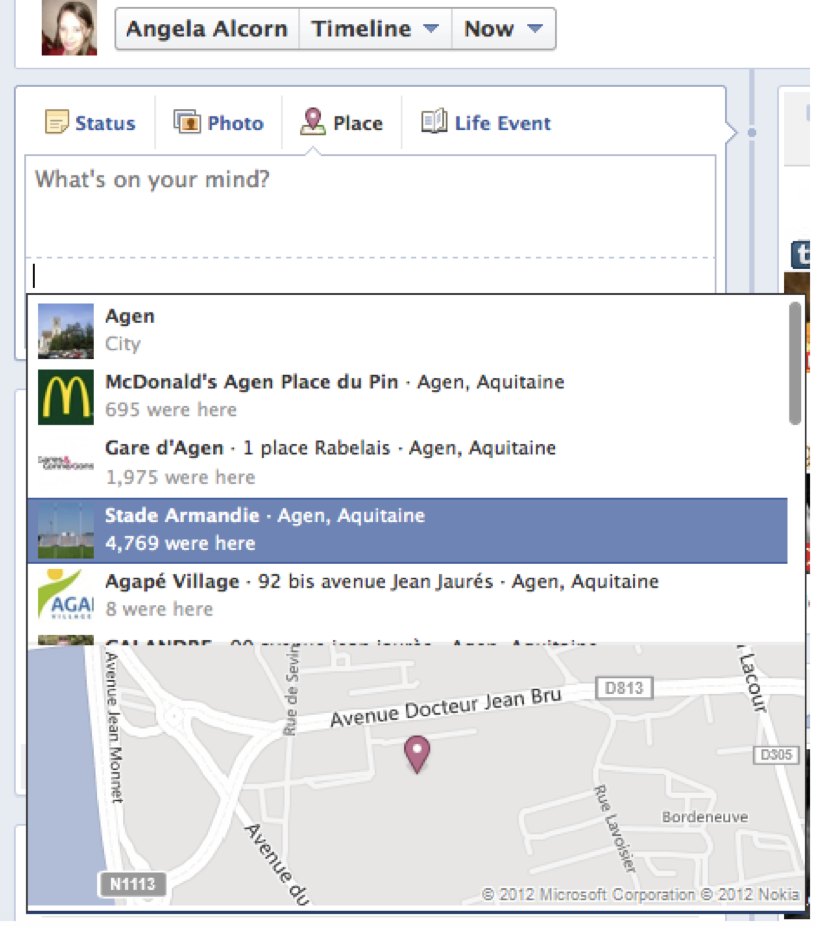 Facebook Geotagging Example