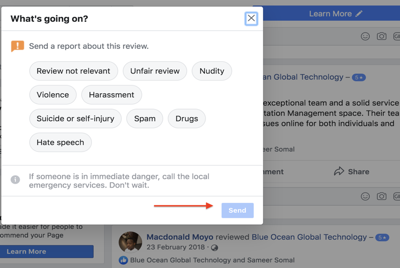 """Facebook """"What's going on?"""" dialog box"""