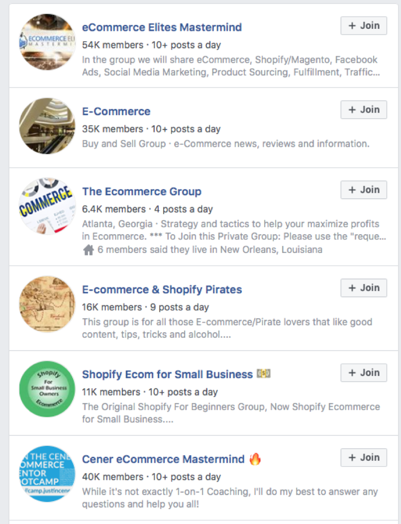 Facebook e-commerce groups