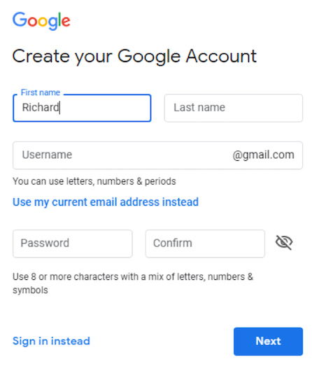 Google User Web Form
