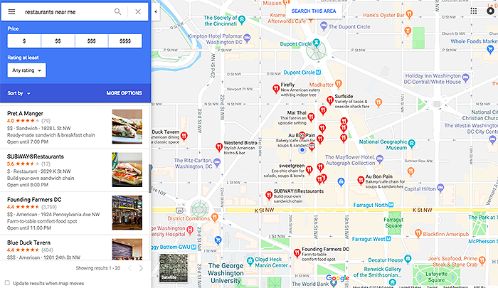 Screenshot of Google Maps' restaurant listings
