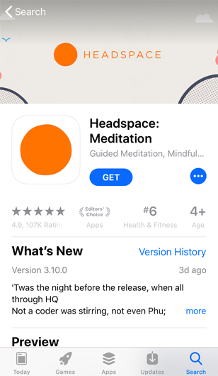 screenshot of subscription-based meditation app Headspace