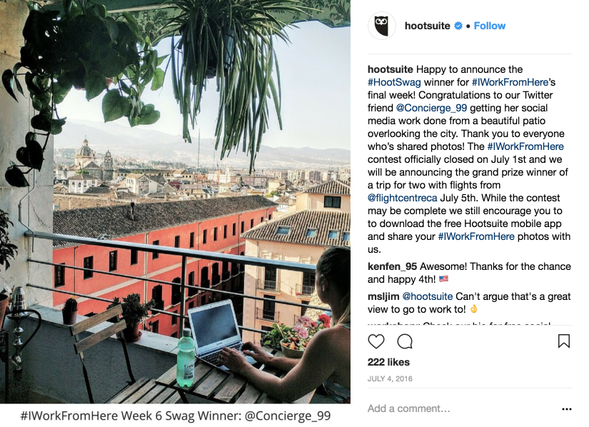 Hootsuite congratulates a contest winner on Instagram