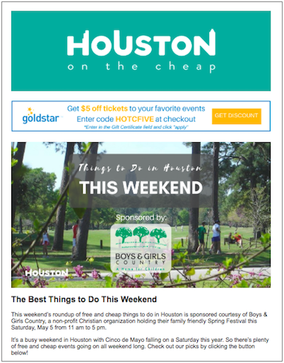 Houston on the Cheap email marketing