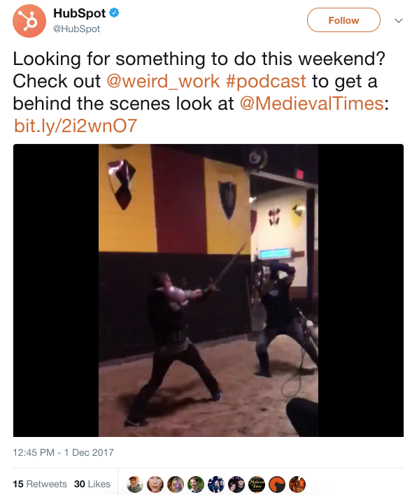 example of sword fight on HubSpot's Twitter account