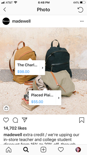 Instagram Product Tags for Madewell