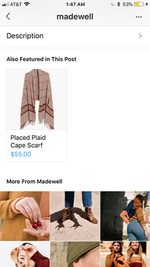 Instagram Product Page for Madewell
