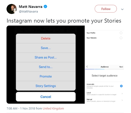 "Instagram ""Promote Stories"" screenshot"
