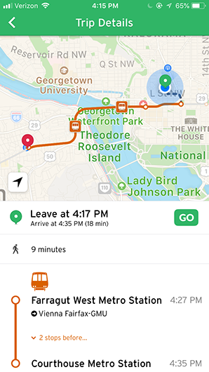 Transit app screenshot 2