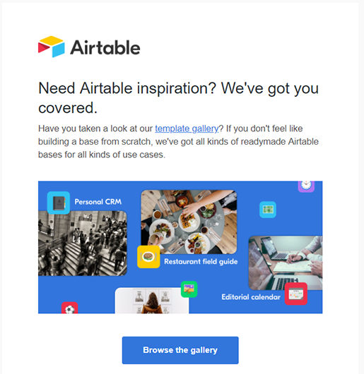 AirTable inspiration email