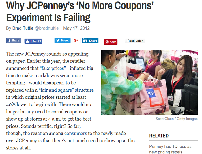 News story regarding JCPenney discontinuing coupons