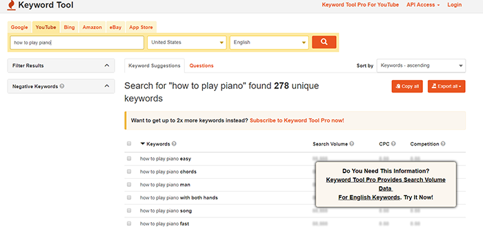 Screenshot of Keyword Tool