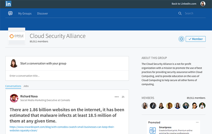 Example of LinkedIn Group