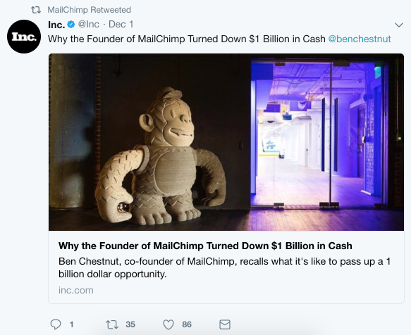 Twitter post from MailChimp