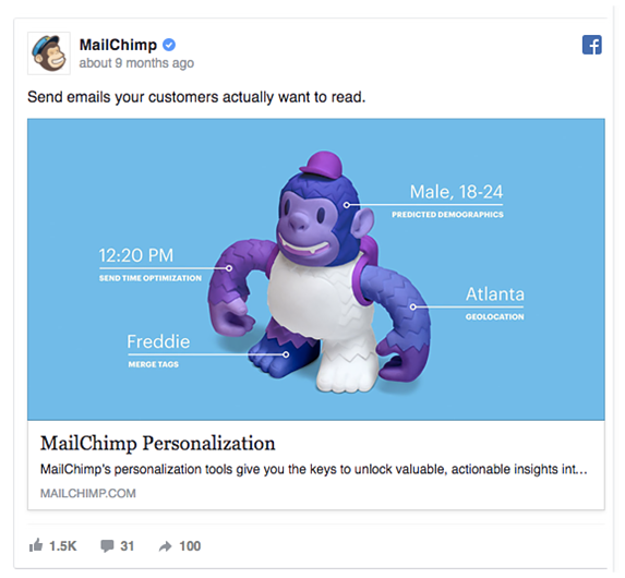 screenshot of MailChimp Facebook ad with enticing featured image of monkey mascot