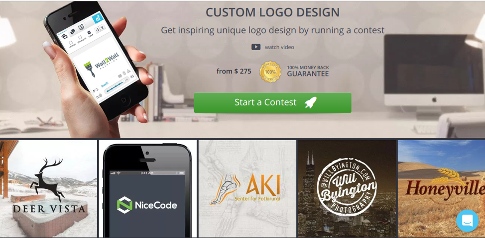 Designers can start a logo design contest to crowdsource ideas for a logo.