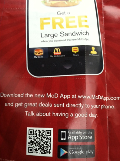 QR code on McDonald's flyer to encourage customers to download the company's app