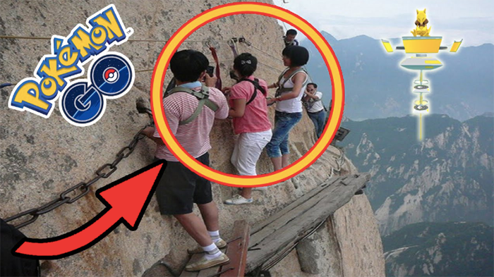 Players Looking for Pokémon on Mount Hua