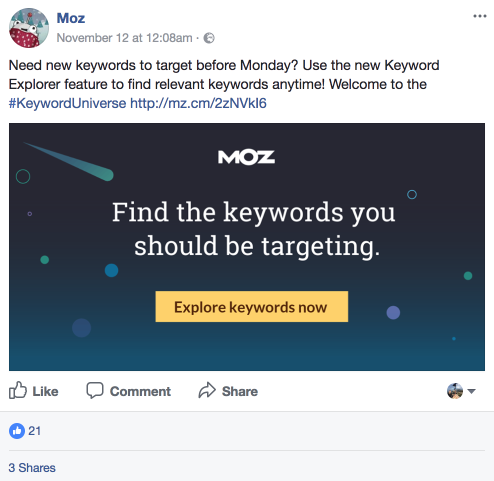 Moz promoting its new keyword tool on Facebook