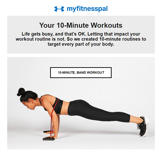Fitness email example