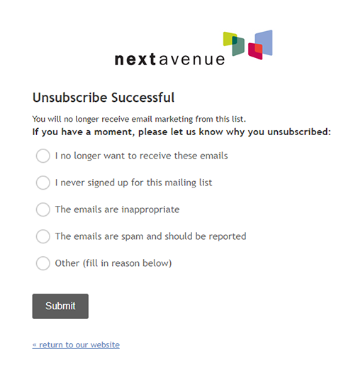 Next Avenue email subscribe page