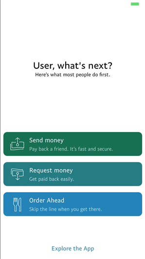 PayPal shares the most popular next steps with new app users who complete onboarding