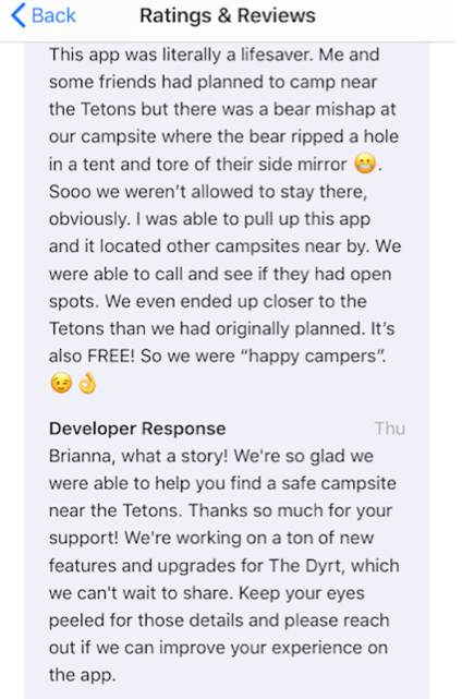 Davis wrote a positive review about The Dyrt on the app store after she used the app to locate a new camp site after a run-in with a bear.