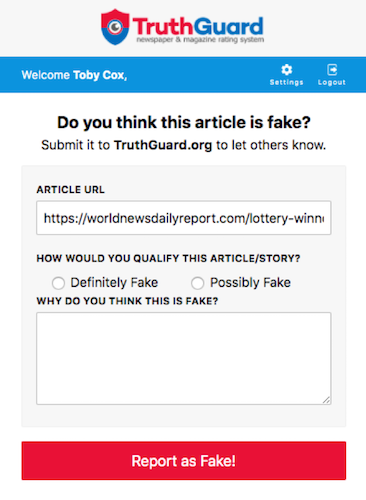 TruthGuard offers a Chrome extension to make it easy for people to report fake news.