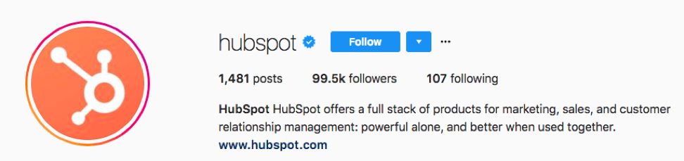 HubSpot shows its unique value proposition in its Instagram bio.