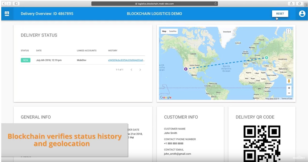 Blockchain can provide businesses with information such as a delivery's status history and geolocation.