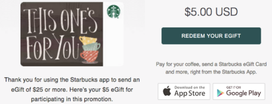 The Starbucks app allows users to pay for orders, send gift cards, and more.