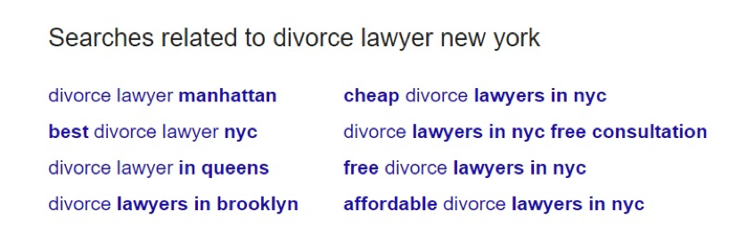An example of Google's suggestions in the related searches section.