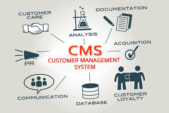 A CMS involves customer care, analysis, documentation, acquisition, customer loyalty, database, communication, and PR.