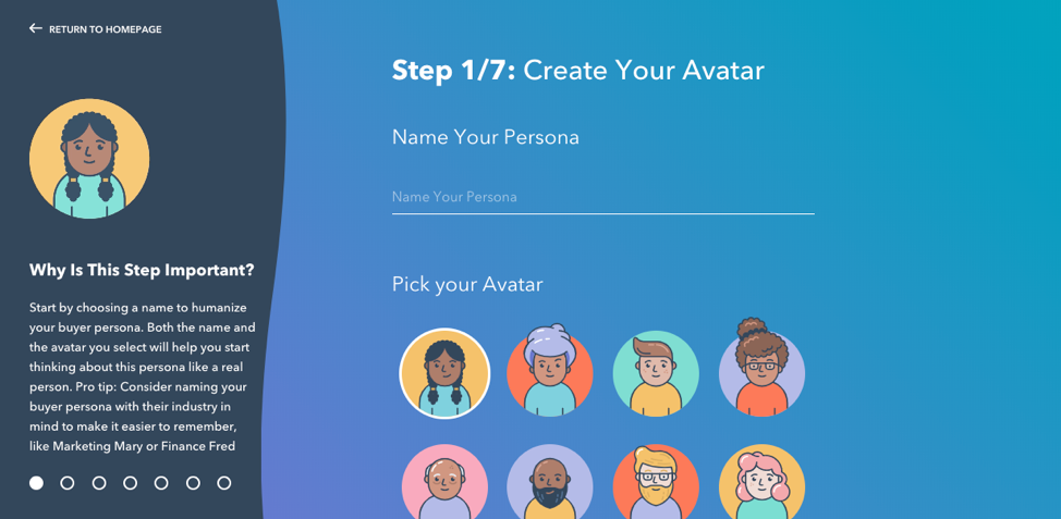Hubspot allows you to create avatars that help you visualize the people you'r trying to reach.